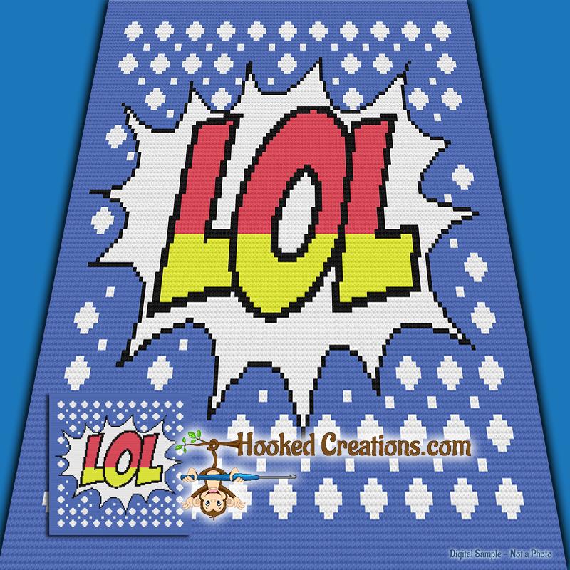 Mini C2c Pattern: LOL Pop Art Mini C2C Throw Blanket Crochet Pattern
