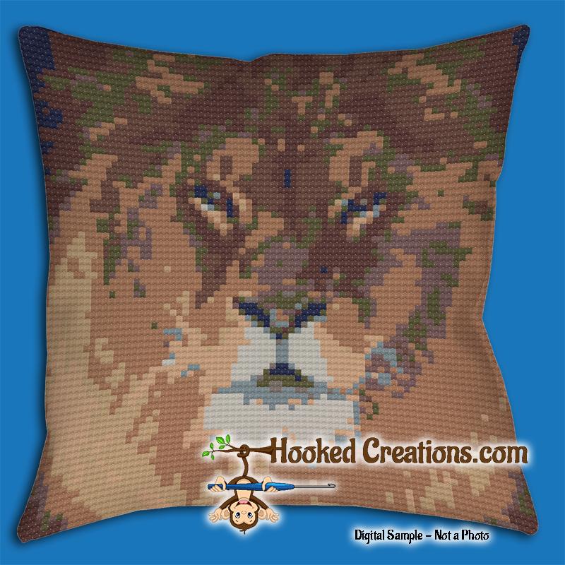 Lion SC Throw Pillow Crochet Pattern PDF Download