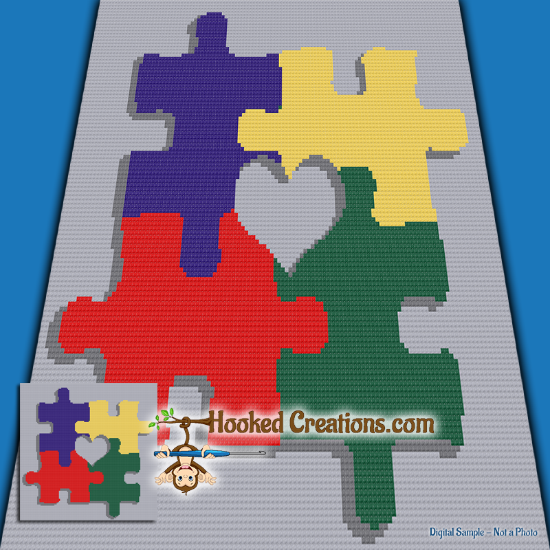 Mini C2c Pattern: Pieces Of My Heart Mini C2C Throw Sized Blanket Crochet
