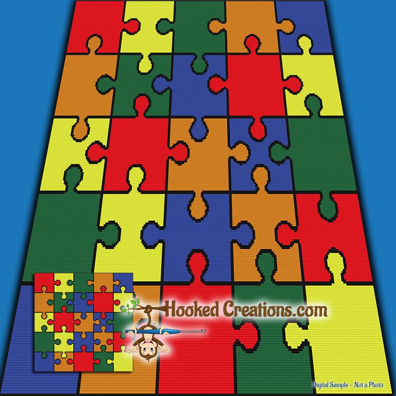 Rainbow Puzzle SC Throw Blanket Crochet Pattern - PDF Download