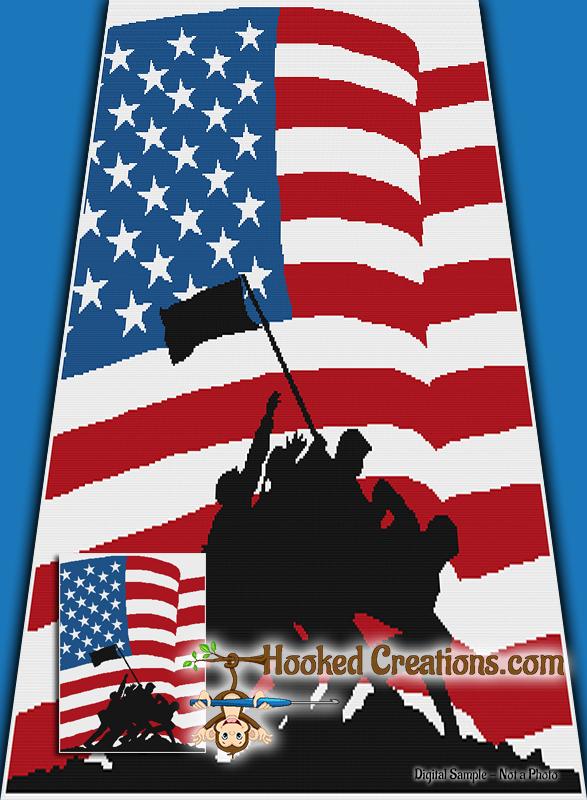 Raising the Flag Twin Size SC Blanket Crochet Pattern - PDF Download
