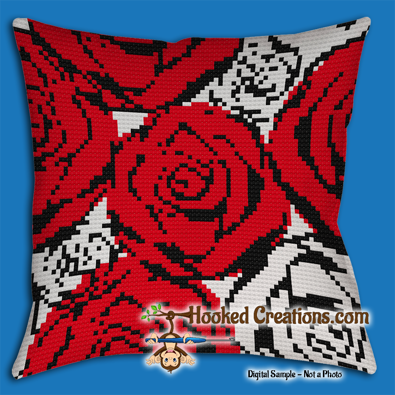 Throw Pillow And Blanket Set : Red N White Roses SC Throw Blanket and Pillow Set Crochet Pattern - PDF Download