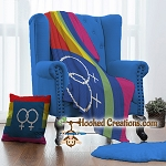 Gay Pride Female Throw Pillow & C2C Twin Blanket Set Crochet Pattern