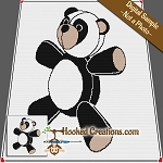 Panda Teddy SC Throw Blanket Crochet Pattern