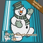 Smiling Snowman SC (Single Crochet) Throw Blanket Crochet Pattern