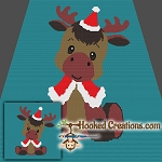 Christmas Moose SC (Single Crochet) Throw Blanket Crochet Pattern