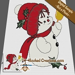 Jingle Bell Snowman SC (Single Crochet) Throw Blanket Crochet Pattern