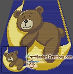 Sleepy Time Bear SC (Single Crochet) Baby Blanket Crochet Pattern