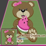 Watermelon Bear SC (Single Crochet) Throw Blanket Crochet Pattern