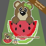 Watermelon Bear C2C (Corner to Corner) Throw Blanket Crochet Pattern