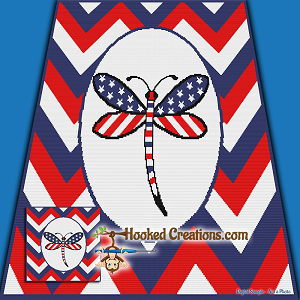 American Dragonfly SC Throw Blanket Crochet Pattern