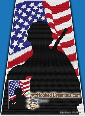 Single Soldier C2C (Corner to Corner) Twin Blanket Crochet Pattern