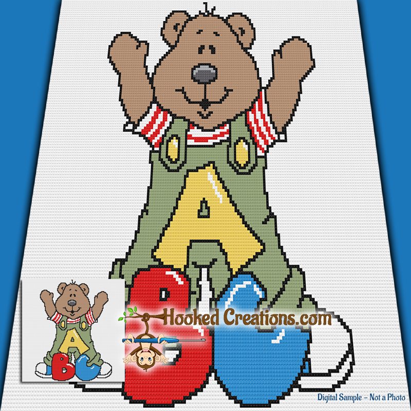 ABC Teddy SC (Single Crochet) Baby Blanket Graphghan Crochet Pattern - PDF Download