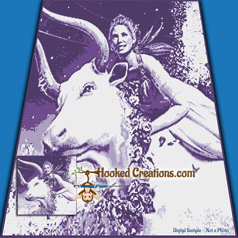 A Cow and a Fae SC (Single Crochet) Throw Blanket Graphghan Crochet Pattern - PDF Download