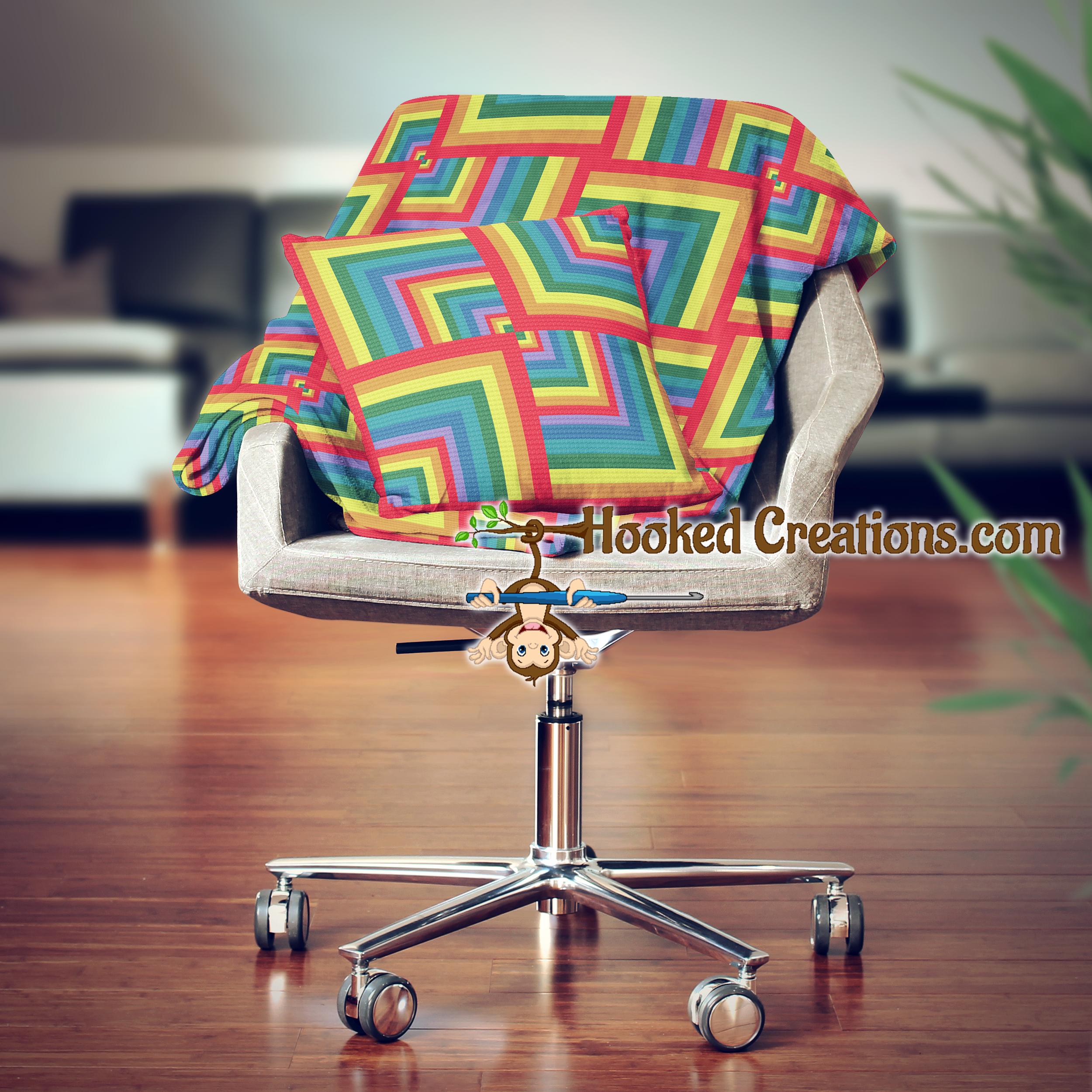 a walk through the rainbow sc throw blanket pillow set crochet