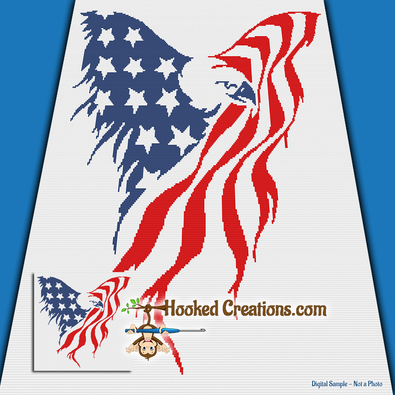 American Eagle SC (Single Crochet) Throw Blanket Graphghan Crochet Pattern - PDF Download