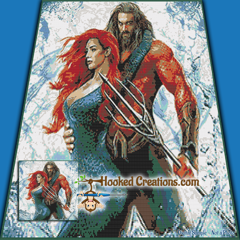 Aquaman SC (Single Crochet) Throw Blanket Graphghan Crochet Pattern - PDF Download