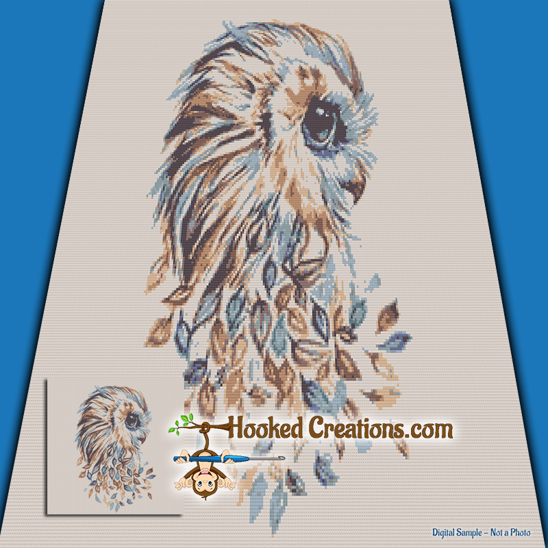 Autumn Owl SC (Single Crochet) Throw Blanket Graphghan Crochet Pattern - PDF Download