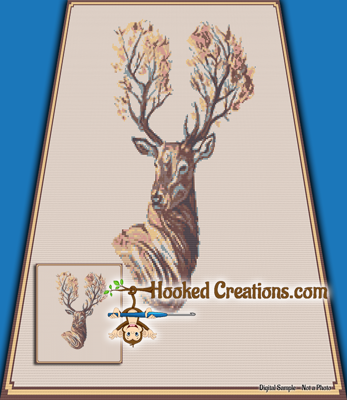 Autumn Stag SC (Single Crochet) Throw Blanket Graphghan Crochet Pattern - PDF Download
