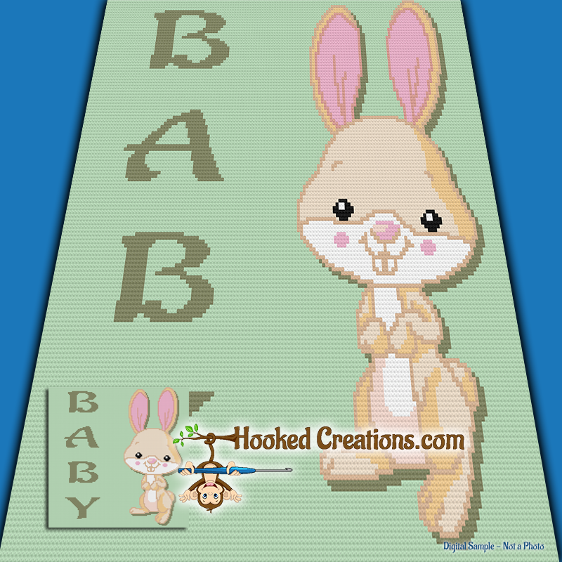 Baby Bunny SC (Single Crochet) Baby Blanket Graphghan Crochet Pattern - PDF Download