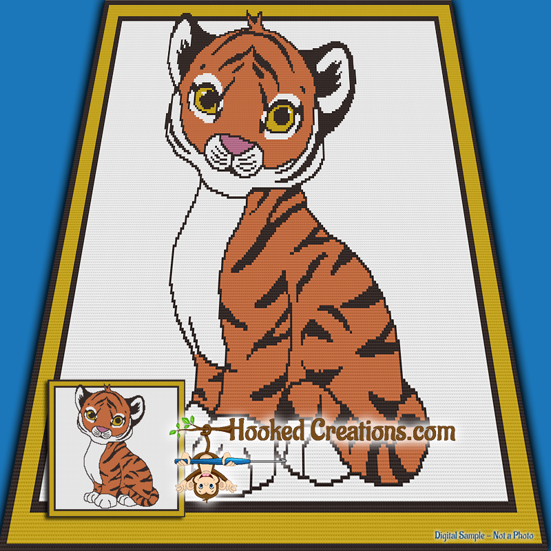Baby Tiger SC (Single Crochet) Throw Blanket Graphghan Crochet Pattern - PDF Download