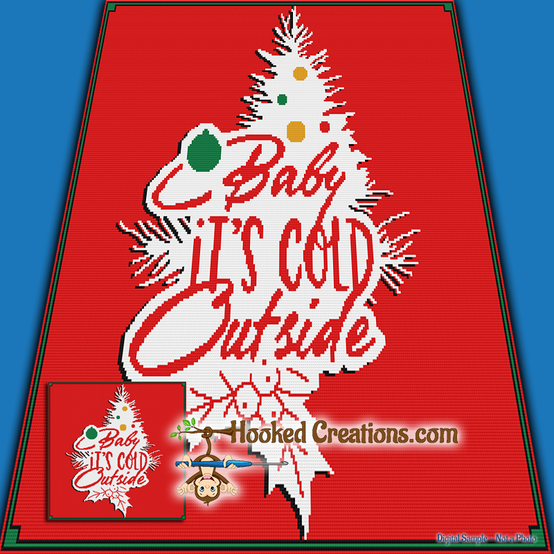 Baby It's Cold Outside SC (Single Crochet) Throw Blanket Graphghan Crochet Pattern - PDF Download