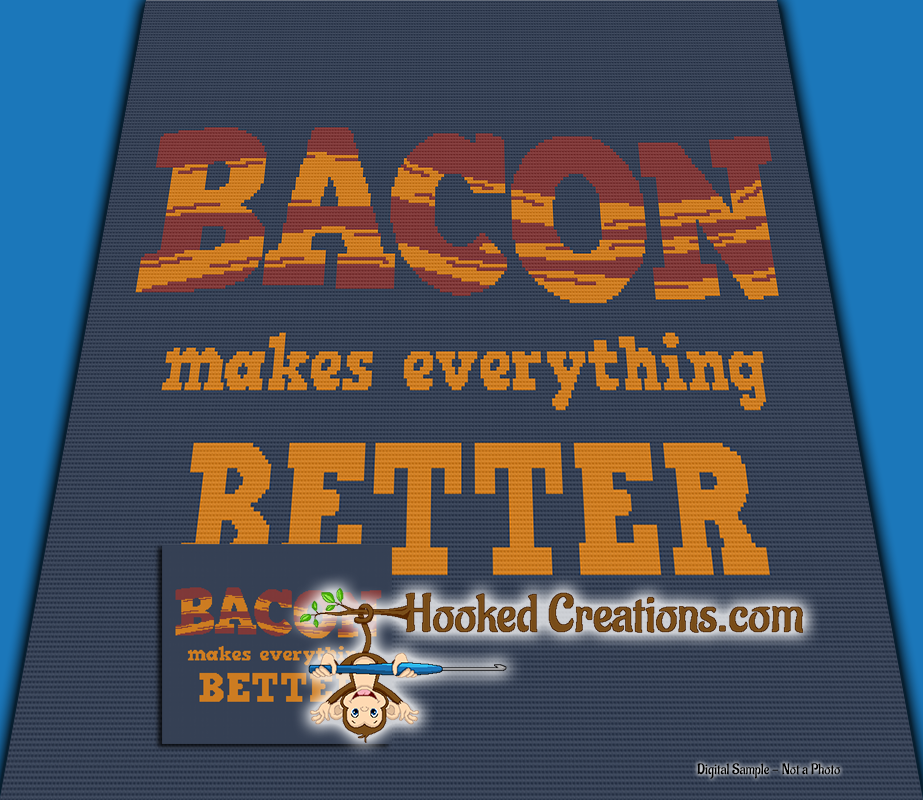Bacon Makes Everything Better SC (Single Crochet) Throw Blanket Graphghan Crochet Pattern - PDF Download