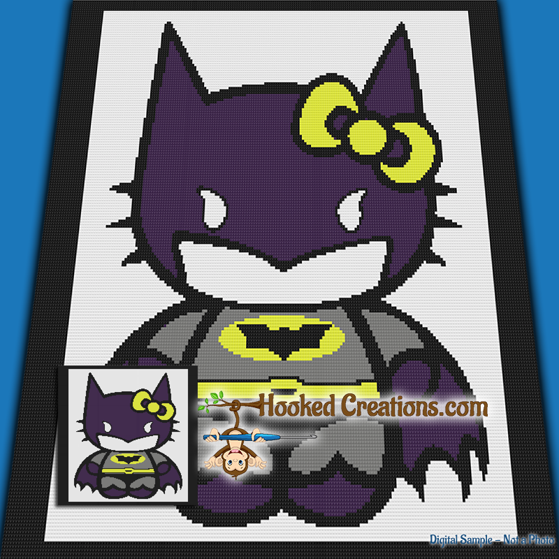 Bat Kitty SC (Single Crochet) Throw Blanket Graphghan Crochet Pattern - PDF Download