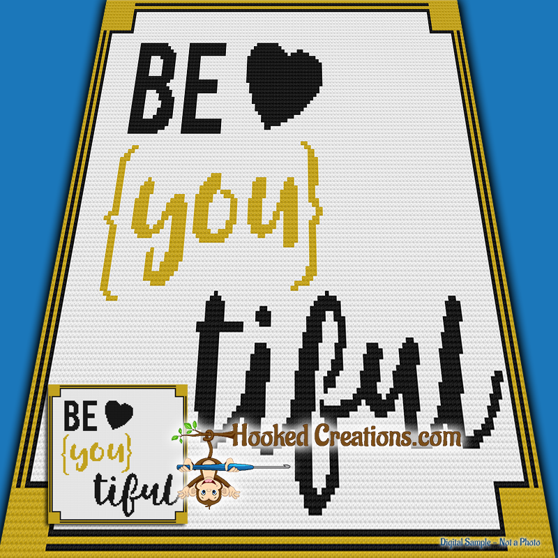 Be-You-tiful Mini C2C (Modified Corner to Corner) Throw Sized Blanket Graphghan Crochet Pattern - PDF Download