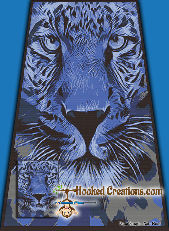 Blue Cheetah SC (Single Crochet) Twin Blanket Graphghan Crochet Pattern - PDF Download