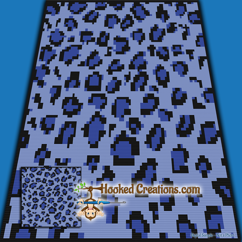 Blue Leopard TSS (Tunisian Simple Stitch) Right Handed Throw Blanket Graphghan Crochet Pattern - PDF Download