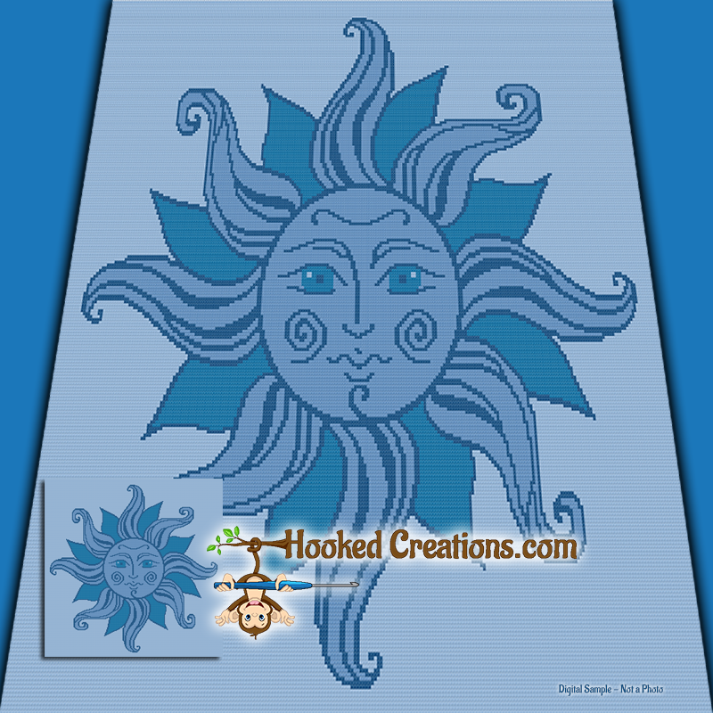 Blue Sun TSS  (Tunisian Simple Stitch) Right Handed Throw Sized Blanket Graphghan Crochet Pattern - PDF Download