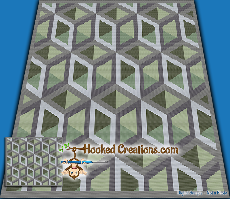 Boxed In SC (Single Crochet) Throw Sized Blanket Graphghan Crochet Pattern - PDF Download