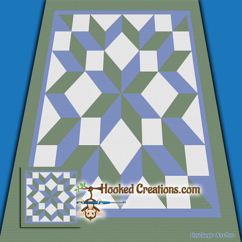 Carpenter Star TSS (Tunisian Simple Stitch) Right Handed Throw Blanket Graphghan Crochet Pattern - PDF Download