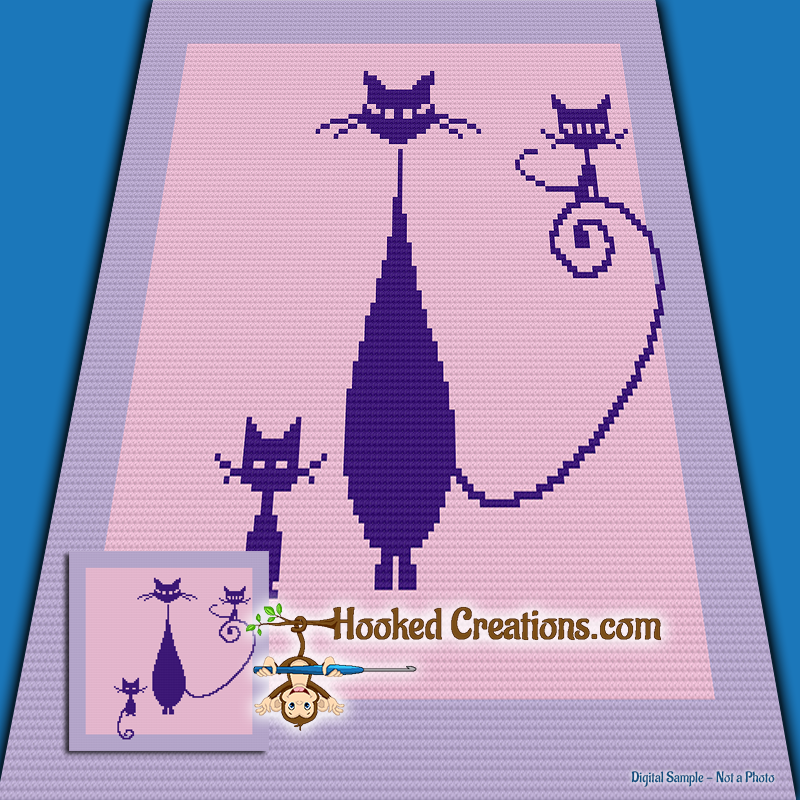 Catty Mini C2C (Modified Corner to Corner) Throw Sized Blanket Graphghan Crochet Pattern - PDF Download