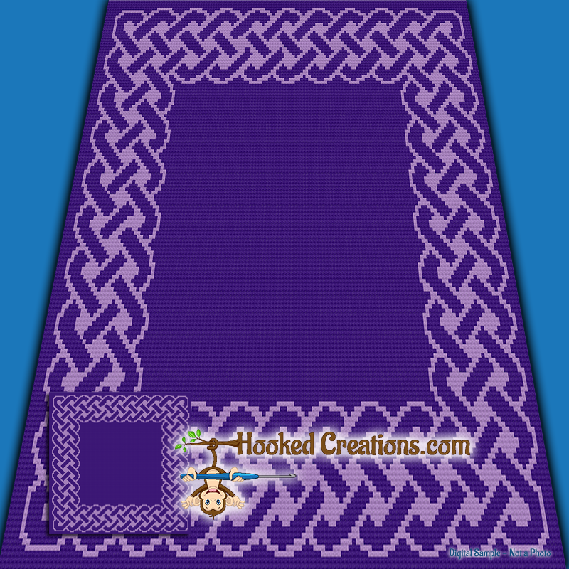 Celtic Knot TSS (Tunisian Simple Stitch) Right Handed Baby Blanket Graphghan Crochet Pattern - PDF Download
