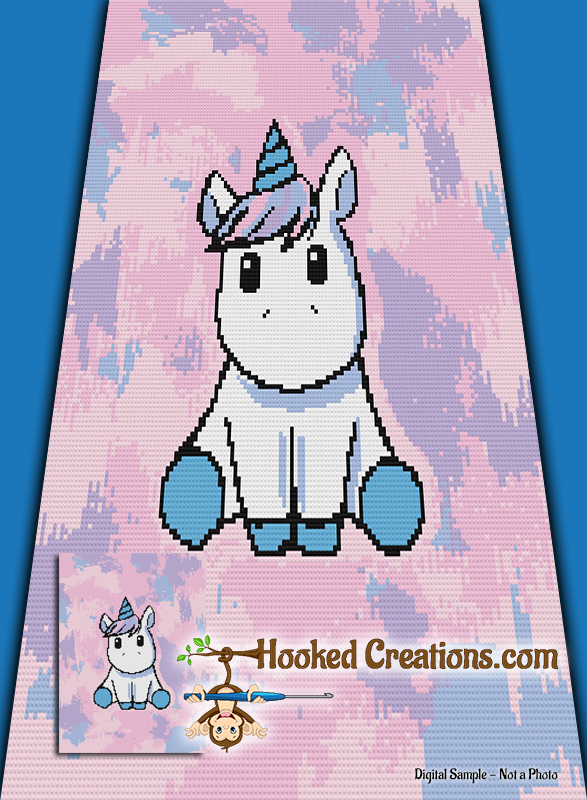 Chibi Unicorn Mini C2C (Corner to Corner) Twin Blanket Graphghan Crochet Pattern - PDF Download