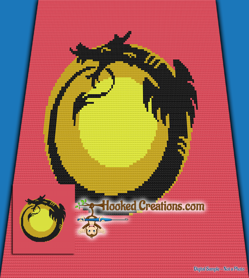 Chinese Dragon C2C (Corner to Corner) Queen Sized Graphghan Crochet Pattern - PDF Download