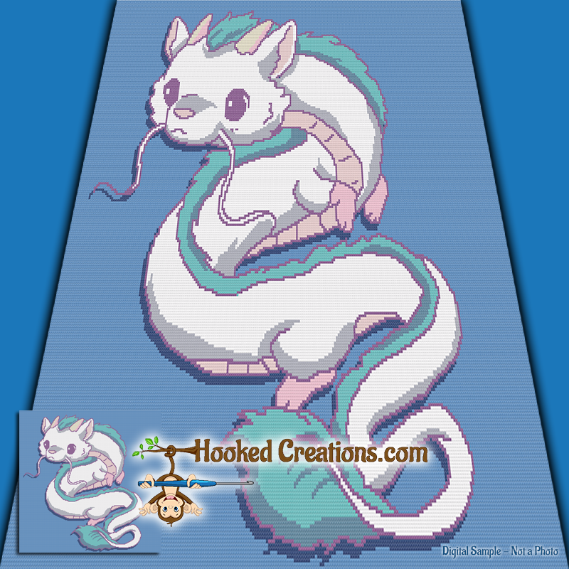 Chinese Dragon SC (Single Crochet) Throw Blanket Graphghan Crochet Pattern - PDF Download