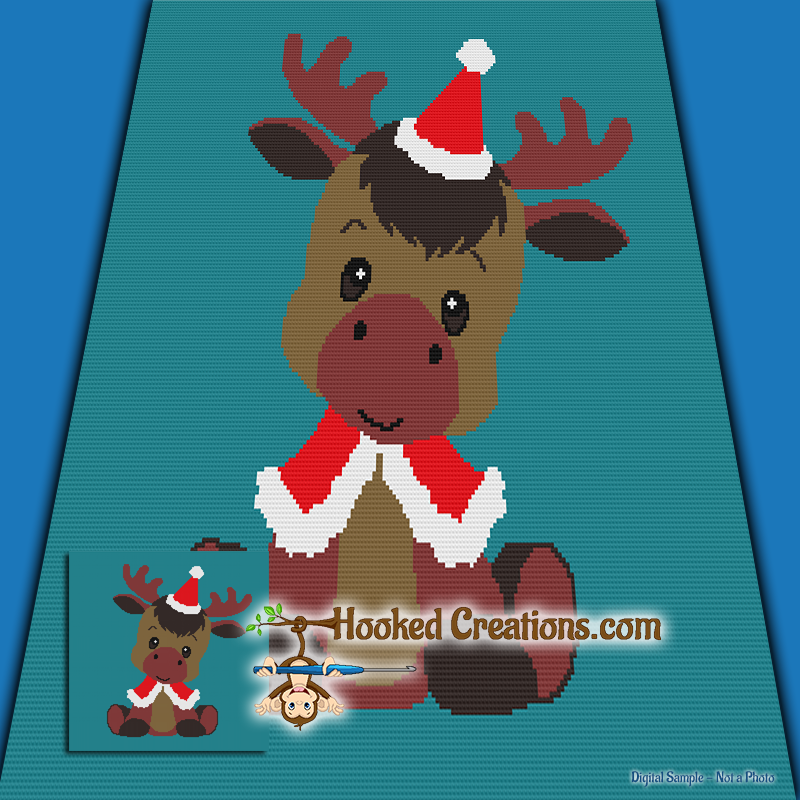 Christmas Moose SC (Single Crochet) Throw Blanket Graphghan Crochet Pattern - PDF Download