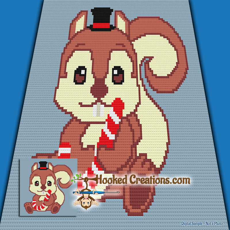 Christmas Squirrel Mini C2C (Modified Corner to Corner) Throw Blanket Graphghan Crochet Pattern - PDF Download