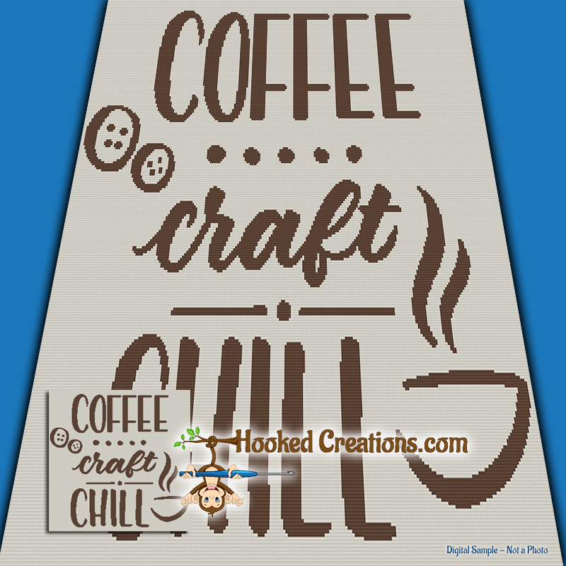 Coffee Craft Chill SC (Single Crochet) Throw Size Blanket Graphghan Crochet Pattern - PDF Download