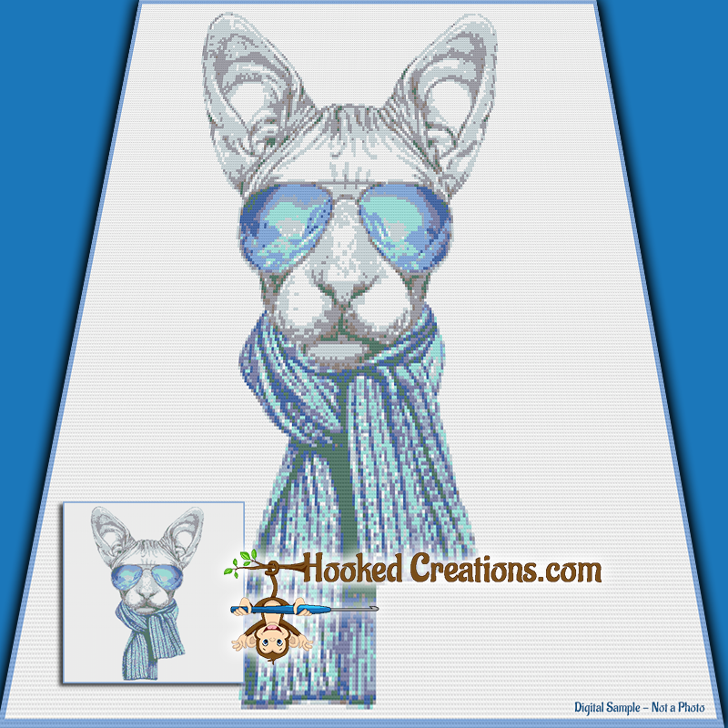 Cool Sphynx SC (Single Crochet) Throw Sized Blanket Graphghan Crochet Pattern - PDF Download