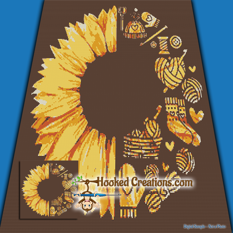 Crafty Sunflower SC (Single Crochet) Throw Blanket Graphghan Crochet Pattern - PDF Download