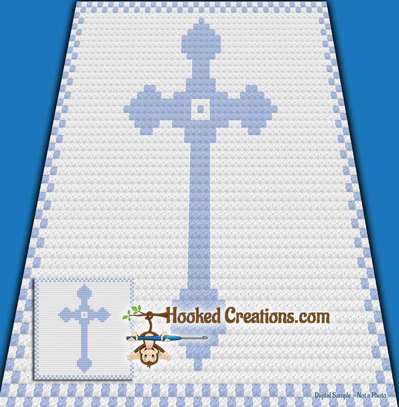Cross Baby C2C (Corner to Corner) Baby Blanket Graphghan Crochet Pattern - PDF Download