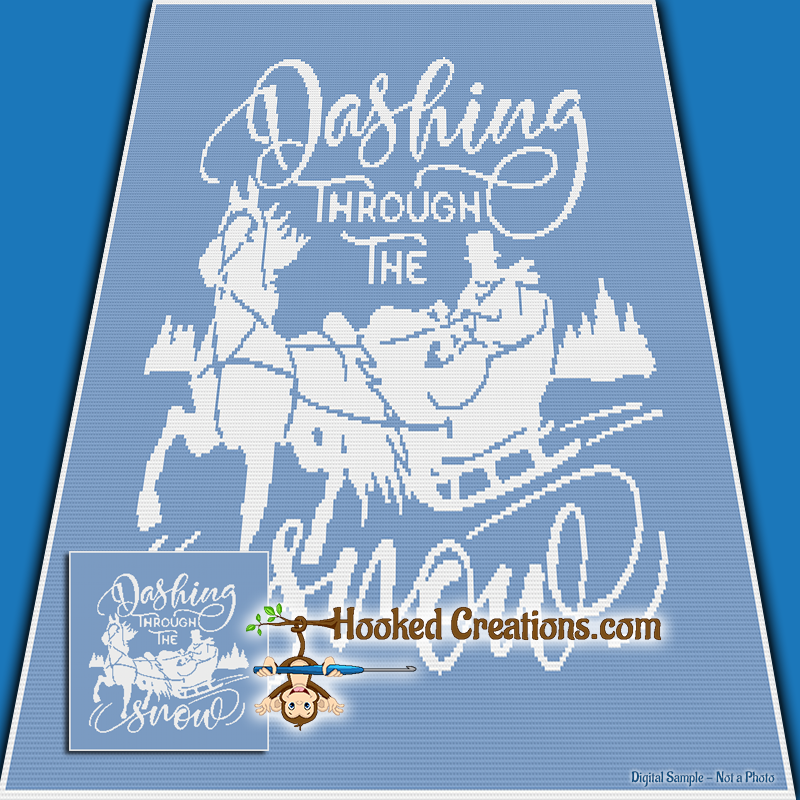 Dashing Through The Snow SC (Single Crochet) Throw Blanket Graphghan Crochet Pattern - PDF Download