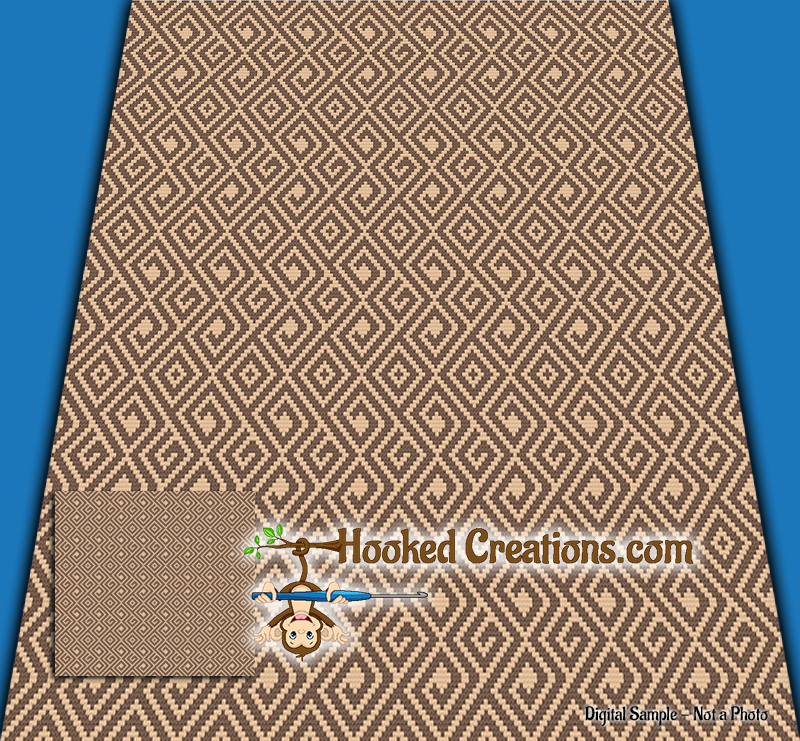Dependent Mini C2C (Modified Corner to Corner) King Sized Blanket Graphghan Crochet Pattern - PDF Download