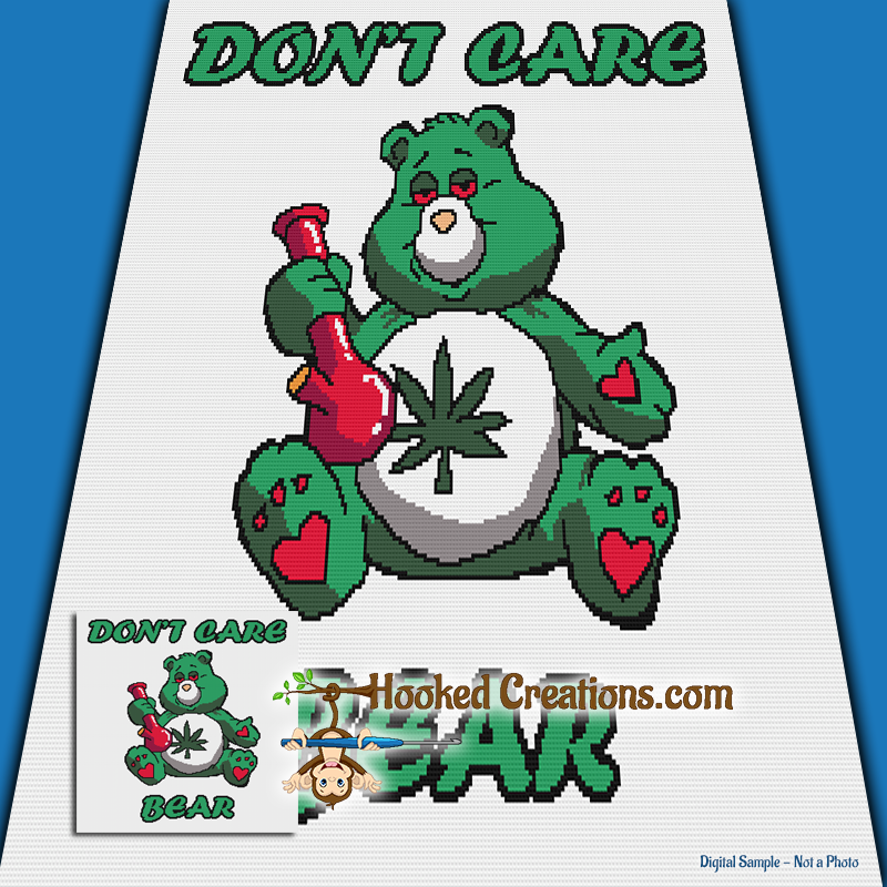 Don't Care Bear SC (Single Crochet) Throw Blanket Graphghan Crochet Pattern - PDF Download