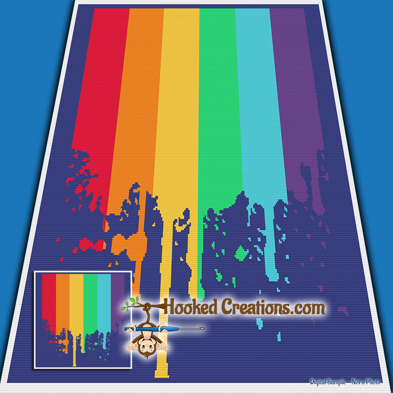 Dripping Rainbow SC (Single Crochet) Throw Blanket Graphghan Crochet Pattern - PDF Download
