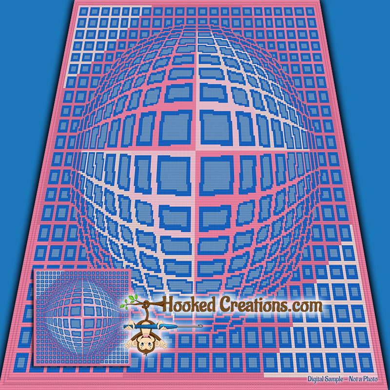 Dynamic Illusion SC (Single Crochet) Throw Blanket Graphghan Crochet Pattern - PDF Download